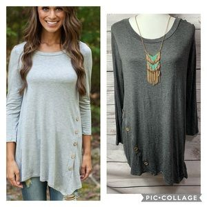 NWT Sweet Pea Grey Side Button Side Knot Tunic